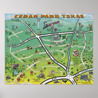 ヒマラヤスギ公園のテキサス州の漫画の地図 ポスター