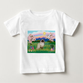 ヒマラヤチョコレートポイント-花 ベビーTシャツ