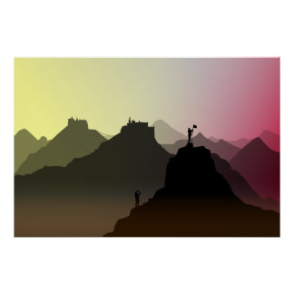 ヒマラヤ山脈の観光客のプリントポスター ポスター