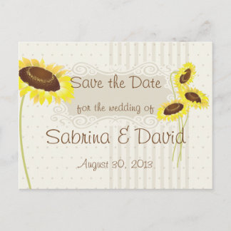 Sunflowers And Stripes Save the Date