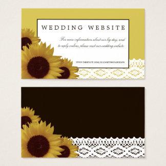 ヒマワリおよびヴィンテージのレースの結婚式のウェブサイト 名刺