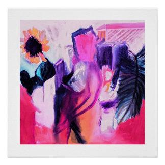 ヒマワリおよび女性- 20 x 20光沢印画 ポスター