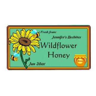 ヒマワリおよび蜂蜜のポット ラベル