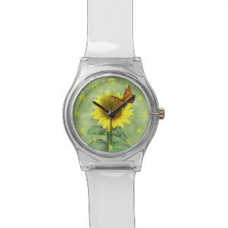 ヒマワリおよび蝶 腕時計