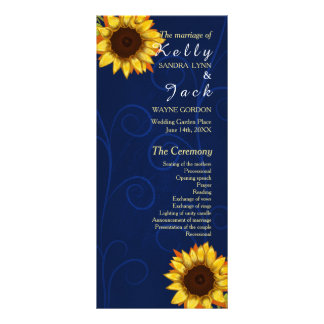 ヒマワリか青い結婚式の棚カード ラックカード