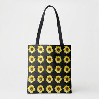 ヒマワリによってタイルを張られるデザインの黒 トートバッグ