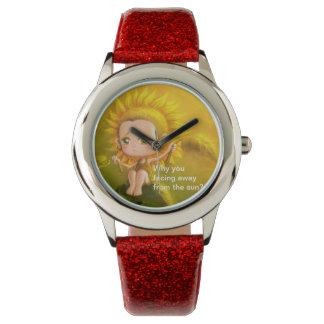 ヒマワリのグリッターの革紐の腕時計 腕時計