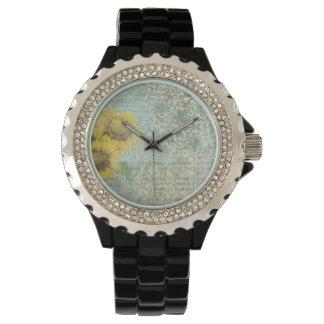 ヒマワリのコラージュ 腕時計