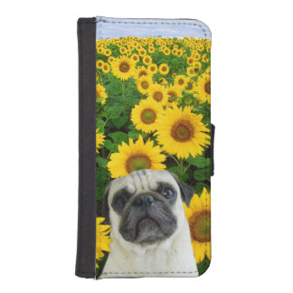 ヒマワリのパグ犬 iPhoneSE/5/5sウォレットケース
