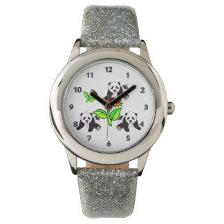 ヒマワリのパンダくま 腕時計