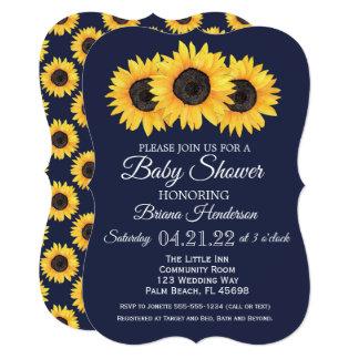 ヒマワリのベビーシャワー招待状の国の青 カード