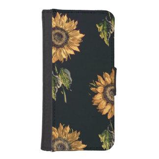 ヒマワリのベロアのauのサーブル絹の装飾 iPhoneSE/5/5sウォレットケース
