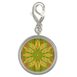 ヒマワリのボヘミアの花の芸術の黄色緑のオレンジ チャーム
