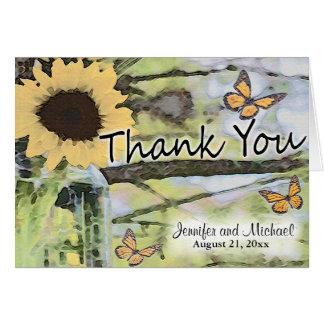 ヒマワリのメーソンジャーの蝶は感謝していしています カード