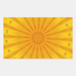 ヒマワリの万華鏡のように千変万化するパターン 長方形シール