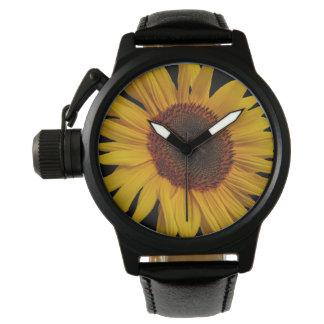 ヒマワリの人の王冠の保護装置の黒の革Str 腕時計