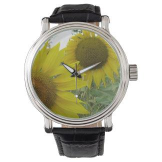 ヒマワリの写真のカスタムで黒いヴィンテージの革 腕時計