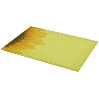 ヒマワリの写真の花のマクロ明るい黄色 カッティングボード