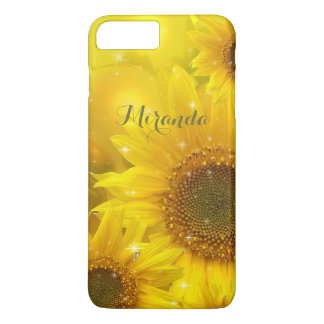 ヒマワリの名前入りな黄色い花の花柄 iPhone 7 PLUSケース