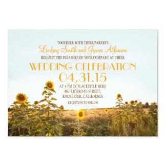 ヒマワリの国の素朴な結婚式招待状 カード