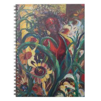 ヒマワリの女性のノート ノートブック