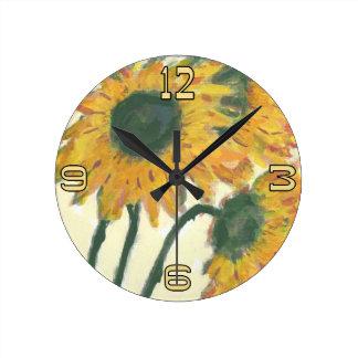 ヒマワリの文字盤 ラウンド壁時計