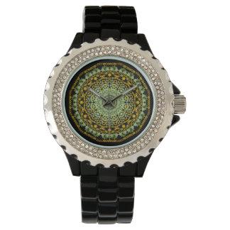 ヒマワリの曼荼羅の腕時計 腕時計