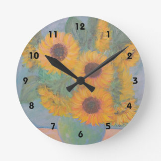 ヒマワリの柱時計 ラウンド壁時計