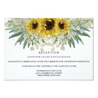 ヒマワリの水彩画の結婚披露宴 カード