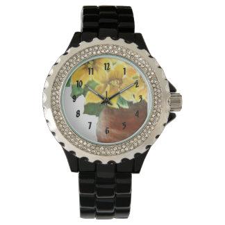 ヒマワリの瓶 腕時計