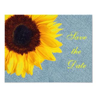 ヒマワリの結婚式の素朴な花の国の黄色 カード