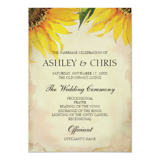 ヒマワリの結婚式プログラム-ヴィンテージ カード