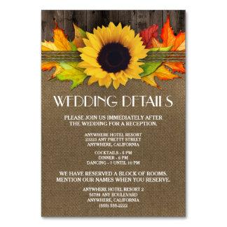 ヒマワリの結婚披露宴の調節カード