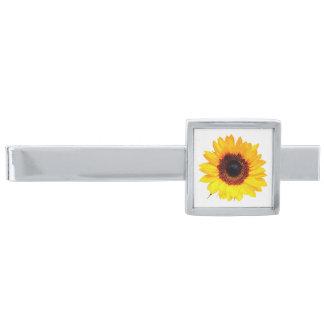 ヒマワリの花だけ + あなたの文字及びアイディア シルバー タイバー