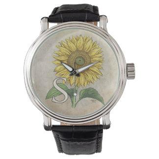 ヒマワリの花のモノグラムのためのS 腕時計