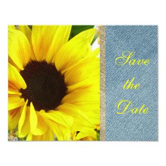 ヒマワリの花の国のモダンな花嫁の結婚式 カード