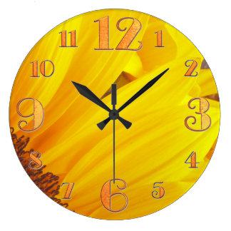 ヒマワリの花びらの柱時計 ラージ壁時計