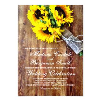 ヒマワリの花束の素朴な国の結婚式の招待 カード