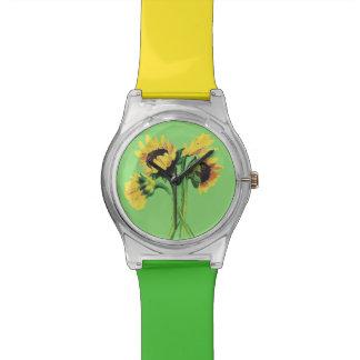 ヒマワリの芸術の黄色および緑の腕時計 腕時計