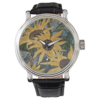 ヒマワリの芸術家の腕時計 腕時計