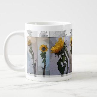 ヒマワリの芸術的でエレガントでノスタルジックなトレンディー ジャンボコーヒーマグカップ
