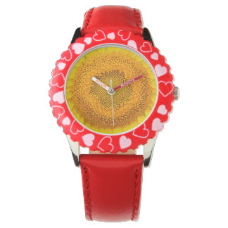 ヒマワリの赤いハートの腕時計 腕時計