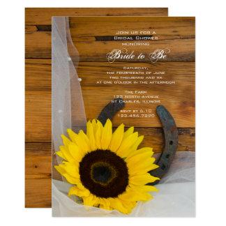 ヒマワリの蹄鉄の国の西部のブライダルシャワー カード