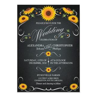 ヒマワリの黒板の花のヴィンテージのはっきりしたな結婚式 12.7 X 17.8 インビテーションカード