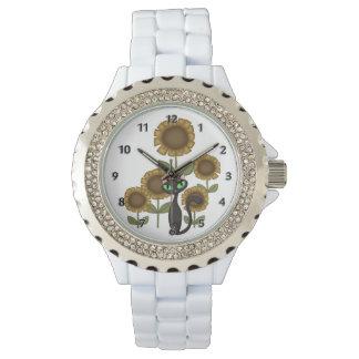 ヒマワリの黒猫 腕時計