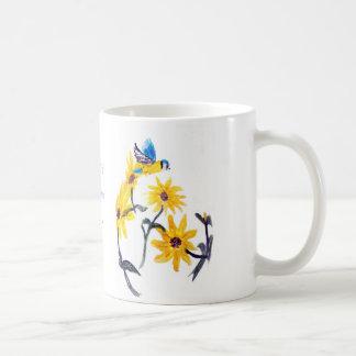 ヒマワリのBluetitsの花柄の芸術 コーヒーマグカップ