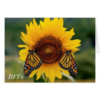 ヒマワリのButterfies (昆虫)オオカバマダラ、モナーク カード