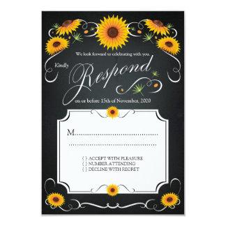 ヒマワリのRSVPを結婚する花の黒板のヴィンテージ 8.9 X 12.7 インビテーションカード