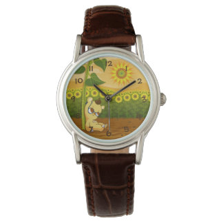 ヒマワリを持つかわいい漫画くま 腕時計