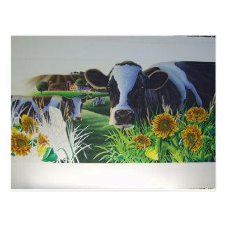 ヒマワリを持つMoo牛 ポストカード
